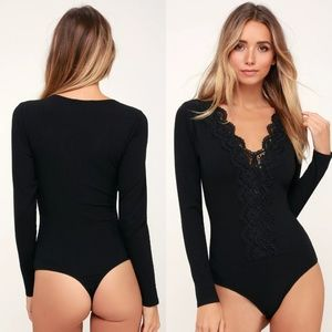 1b7fdb4805d Come Back To You Black Lace Long Sleeve Bodysuit NWT